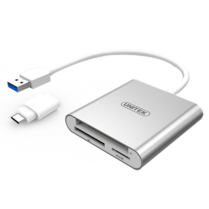 Picture of UNITEK USB 3.0 to Multi-In-One Card Reader. Includes USB-C Adapter