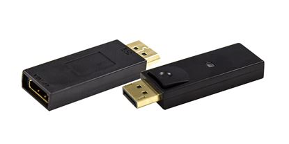 Picture of DYNAMIX DisplayPort Male Source to HDMI Display Female Adapter.