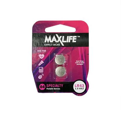 Picture of MAXLIFE LR43 Alkaline Button Cell Battery. 2Pk.