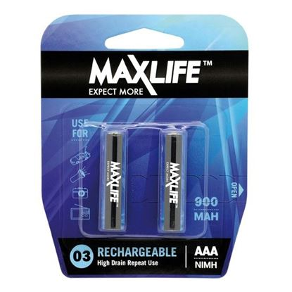 Picture of MAXLIFE AAA Rechargeable Battery NIMH 900mAh. 2Pk.