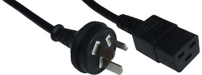 Picture of DYNAMIX 2M Power Cord - 15A 3 Pin Plug to 15A C19 Plug.