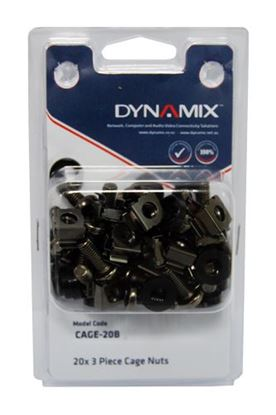 Picture of DYNAMIX 20pc Pack, 3 Piece Cage Nut, Black (Re-sealable Pack) M6
