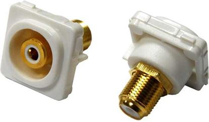 Picture of AMDEX White RCA to F Connector. Gold Plated
