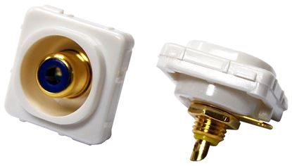 Picture of AMDEX Blue RCA to Solder Connector. Gold Plated