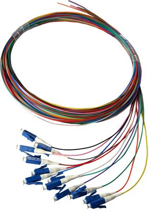 Picture of DYNAMIX 2M LC Pigtail OM3 12x Pack Colour Coded, 900um Multimode