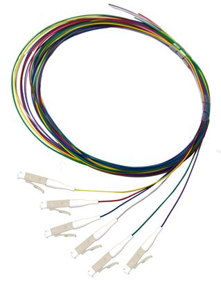 Picture of DYNAMIX 2M LC Pigtail OM3 6x Pack Colour Coded, 900um Multimode