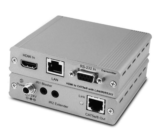 Picture of CYP HDMI HDBaseT Transmitter. HDMI High-speed, PoE, LAN & RS232