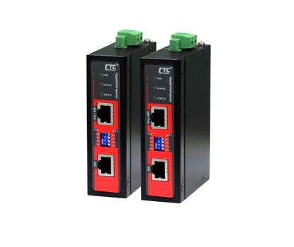 Picture of CTC UNION 1 Port Gigabit 48V DC PoE Injector. -40C~75C. PoE+ power