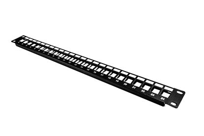 Picture of DYNAMIX Horizontal 19' 1RU Unloaded 24 Port UTP Patch Panel. RoHS