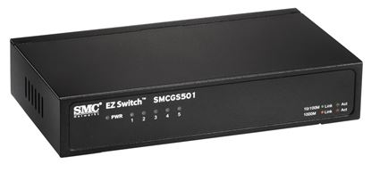 Picture of SMC 5 Port Gigabit Unmanaged Switch. Compact desktop case.