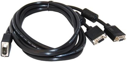 Picture of DYNAMIX 2m VGA Monitor Splitter Cable. (HD DB15M to 2x HD DB15F)