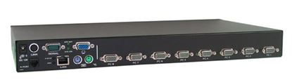 Picture of REXTRON 8 Port USB & PS2 KVM with integrated IP KVM module.