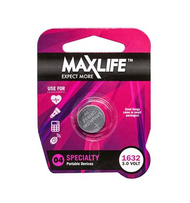 Picture of MAXLIFE CR1632 Lithium Button Cell Battery. 1Pk