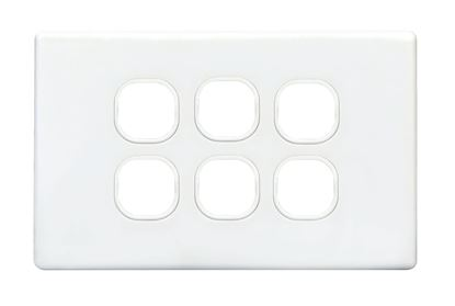 Picture of TRADESAVE Slim Switch Plate ONLY. 6 Gang. Accepts all Tradesave