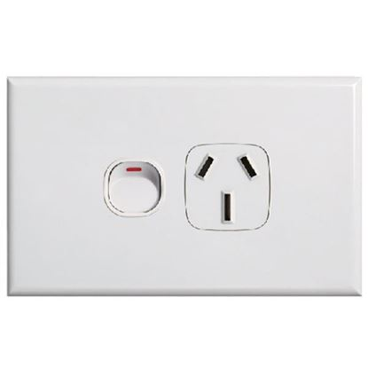 Picture of TRADESAVE Slim 10A Single Horizontal Power Point. Removable