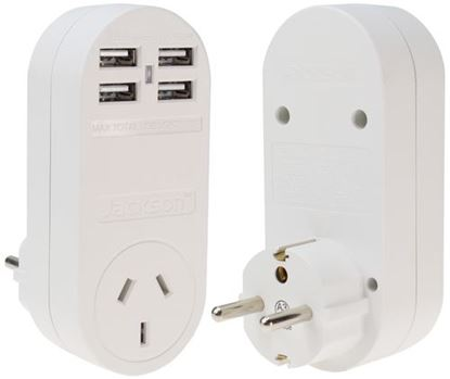 Picture of JACKSON Outbound Travel Adaptor With 4x USB Charging Port (3.1A).