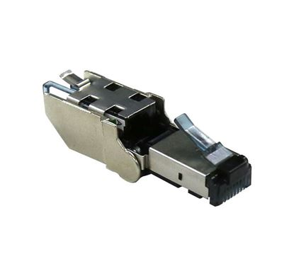 Picture of DYNAMIX RJ45 STP Cat6A 10G Tooless Flexible Plug. Works with both