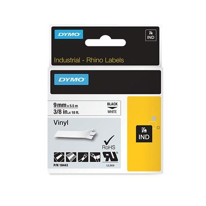 Picture of DYMO Genuine Rhino Industrial Vinyl Labels 9mm x 5.5m. Black on White.
