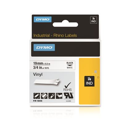 Picture of DYMO Genuine Rhino Industrial Vinyl Labels.19mm x 5.5m. Black on White.