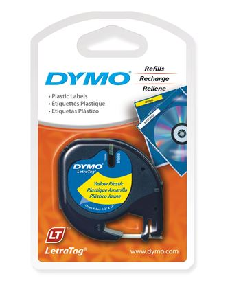Picture of DYMO Genuine LetraTag Labeller Plastic Tape. 12mm Black on Yellow.