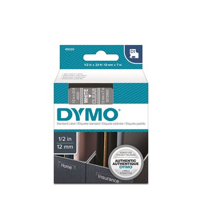 Picture of DYMO Genuine D1 Label Cassette Tape 12mm x 7M, White on Clear