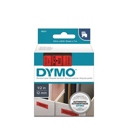 Picture of DYMO Genuine D1 Label Cassette Tape 12mm x 7M, Black on Red