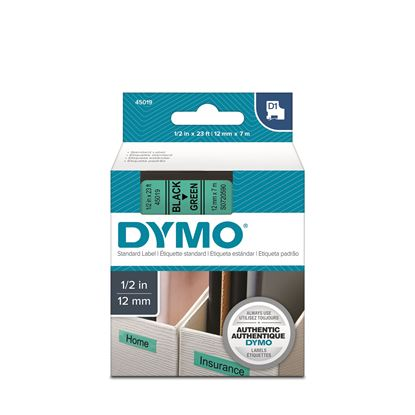 Picture of DYMO Genuine D1 Label Cassette Tape 12mm x 7M, Black on Green