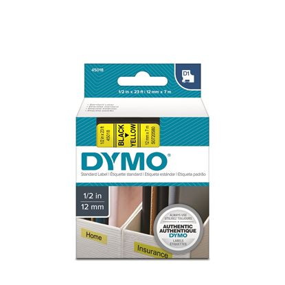 Picture of DYMO Genuine D1 Label Cassette Tape 12mm x 7M, Black on Yellow