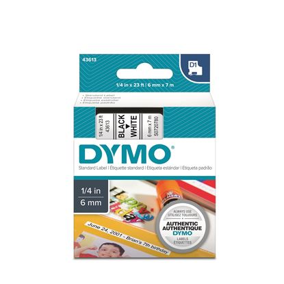 Picture of DYMO Genuine D1 Label Cassette Tape 6mm x 7M, Black on White