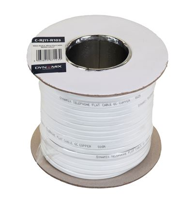 Picture of DYNAMIX 100m Roll 6-Wire Flat Cable, White colour