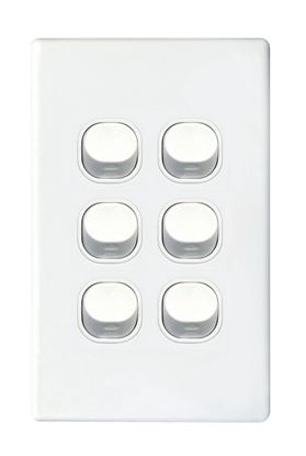 Picture of TRADESAVE Slim 16A 2-Way Vertical 6 Gang Switch. Moulded in Flame