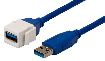 Picture of DYNAMIX USB 3.0 200mm Keystone Jack USB-A Male to USB-A Female