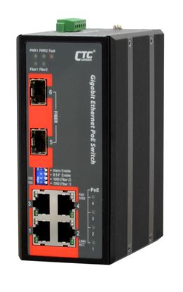 Picture of CTC UNION 4 Port Gigabit Unmanaged PoE Switch. -40C ~+75C.