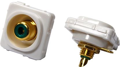 Picture of AMDEX Green RCA to Solder Connector. Gold Plated