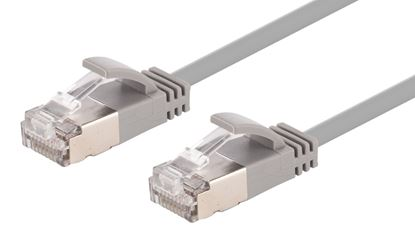 Picture of DYNAMIX 1.25m Cat6A S/FTP Grey Slimline Shielded 10G Patch Lead