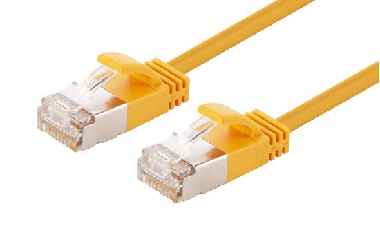 Picture of DYNAMIX 0.5m Cat6A S/FTP Yellow Slimline Shielded 10G Patch Lead