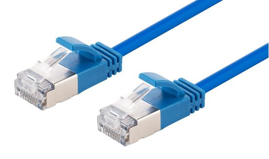 Picture of DYNAMIX 2m Cat6A S/FTP Blue Slimline Shielded 10G Patch Lead