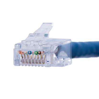 "Picture of DYNAMIX Cat6 UTP push through plug, 3 prong, 50 u"" 100pc pack."