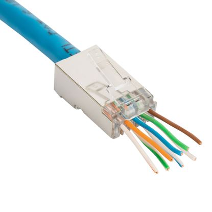 "Picture of DYNAMIX Cat6 STP Internal Ground push through plug, 50 u"" 20pc pack."