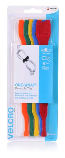 Picture of VELCRO Brand 25mm x 200mm ONE-WRAP Reusable Hook & Loop 5 Pack Cable