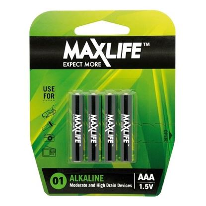 Picture of MAXLIFE AAA Alkaline Battery 4 Pack Long Lasting Alkaline Formula.