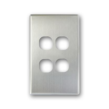 Picture of TRADESAVE Switch Cover Plate, 4 Gang, Silver Aluminium.