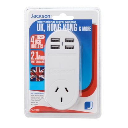 Picture of JACKSON Outbound Travel Adaptor With 4x USB Charging Port (2.1A