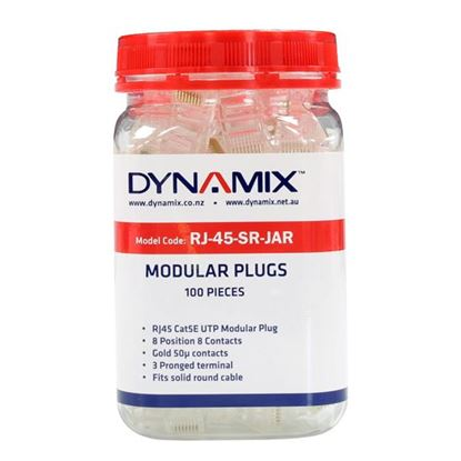 Picture of DYNAMIX RJ45 Plug 100pc Jar, 8P8C Modular Plug (Round, Solid).