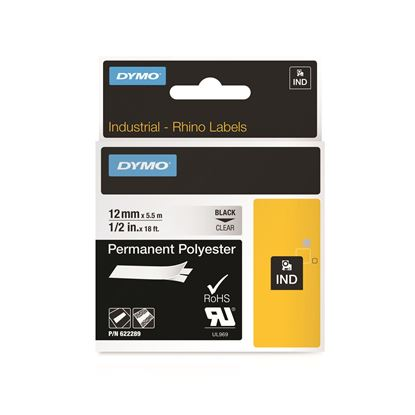 Picture of DYMO Geniune Rhino Industrial Labels-Permanent Polyester 12mm,