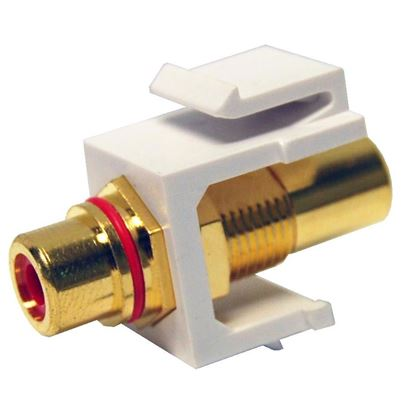 Picture of DYNAMIX Red RCA to RCA Keystone Adapter. Gold Plated