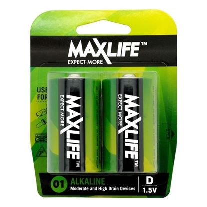 Picture of MAXLIFE D Alkaline Battery 2 Pack Long Lasting Alkaline Formula.