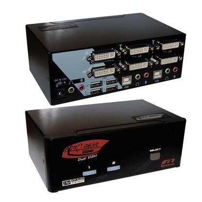 Picture of REXTRON 2 Port Dual-View DVI/USB KVM Switch with Audio,Colour Black.