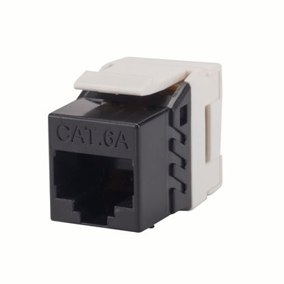 Picture of DYNAMIX Slimline Cat6A UTP jack. Colour Black