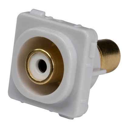 Picture of AMDEX White RCA to RCA Jack. Gold Plated